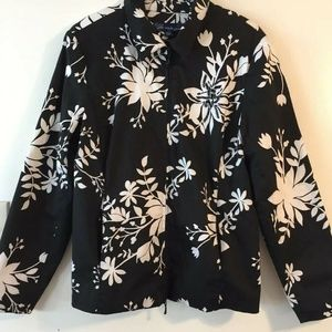 Susan Graver Graphic Floral Print Jacket Sz Large